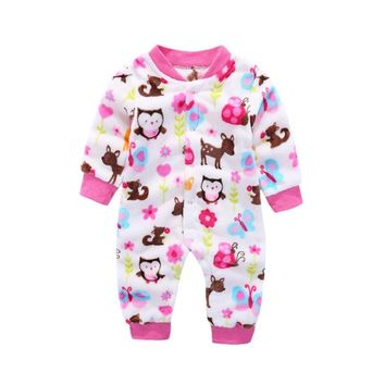 Newborn Baby Rompers  Overall Toddler Jumpsuit New Born Costume Winter Baby Boys Girls Clothes Coral Fleece Warm Infant