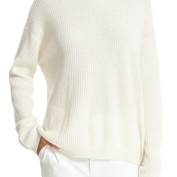 Vince Crossover Tie Back Cashmere & Cotton Sweater | Nordstrom