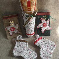 Christmas Holiday hanging decorations: gift bags, candy stocking, popcornopolis bag  (choose 1)