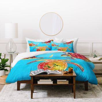 Clara Nilles Tie Dye Sea Turtles Duvet Cover