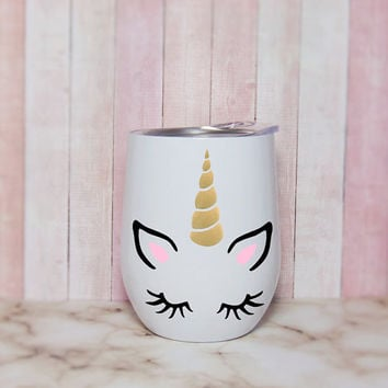 White Stainless Steel Wine Tumbler With Lid With Gold Glitter Horn Unicorn Face And Monogram Decals, Camping Stemless Unicorn Wine Tumbler