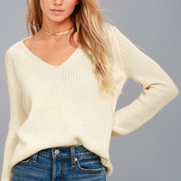Cozy Cutie Cream Knit V-Neck Sweater
