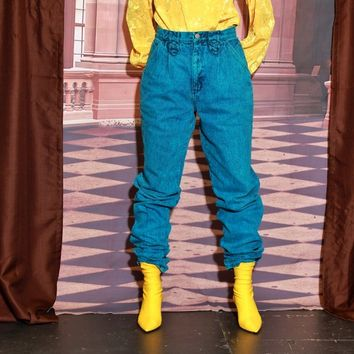 Cyan Blue Acid Wash Roper Jeans / M