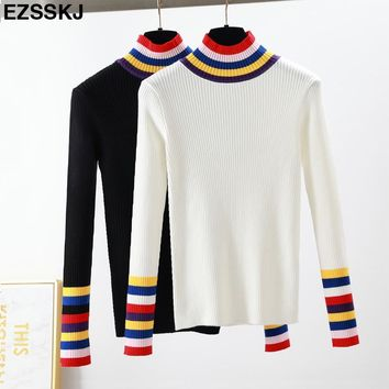 2018 Autumn Winter striped Sweater Pullovers Women Long Sleeve colorful Turtleneck sweater Basic female OL white Knit Sweaters