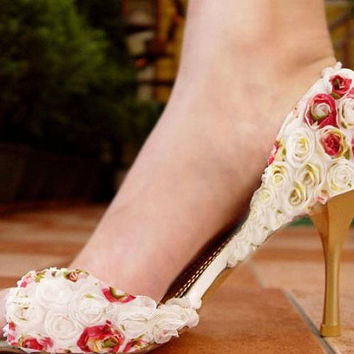 10% off , Colorful rose decorated high heels - peep toe