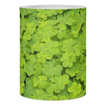 Green Shamrocks Floral Photo Flameless Candle