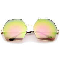 Geometric Metal Frame Colored Mirror Lens Hexagonal Oversize Sunglasses 66mm
