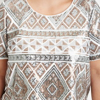 Plus Size Geo-Patterned Sequin Top