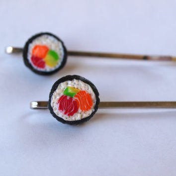 2 Sushi Bobby Pins, Hair Pins in Fimo Polymer Clay, Sushi Lovers, Food Jewelry, California Rolls, Kawaii Hair Pins, Valentine Gift