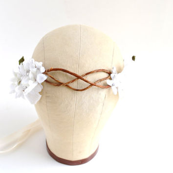 Bohemain Flower Crown, Woodland Bridal,  Ivory Wedding, Flower Head Wreath, Bridal Crown, Flower Crown, Floral Crown, Bohemian - GRECIAN