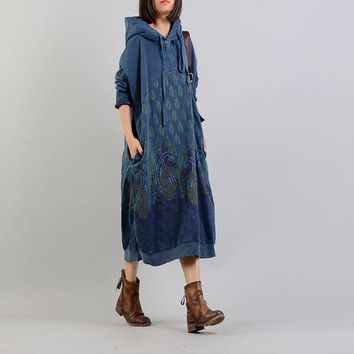 Rich Quality Cotton Tapestry Hooded Dress