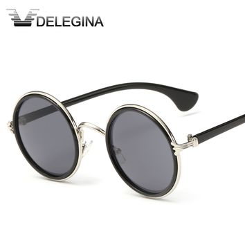 DELEGINA 2017 Vintage Round Women Men Sunglasses Brand Designer Shades Circle Glasses Eyewear DJ-524