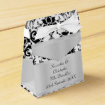 Black and white damask wedding favor box
