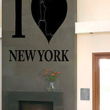 WALL VINYL STICKER DECAL MURAL I LOVE NEW YORK NY USA BIG APPLE C1
