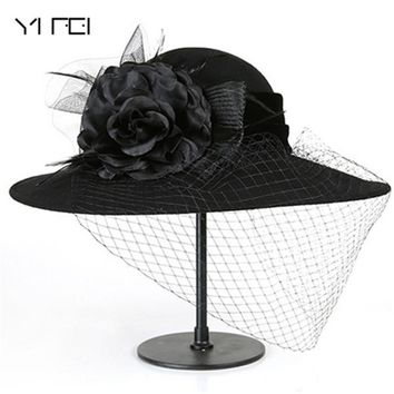 Women 100% Wool Felt Hats 1920s Vintage flower Derby Church Bucket hats Elegant Fashion classic chapeau veil Formal hat