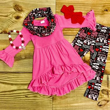 Valentine Hi-Lo Ruffled Scarf Outfit