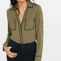 Slim Fit Olive Contrast Piping Portofino Shirt from EXPRESS