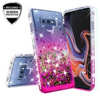 Samsung Galaxy Note 9 Case, SM-N960U Case Liquid Glitter Phone Case Waterfall Floating Quicksand Bling Sparkle Cute Protective Girls Women Cover for Galaxy Note 9 - Hot Pink