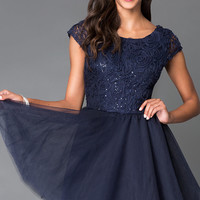 Cap Sleeve Dress 1954 with Lace Bodice