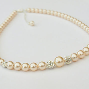 Bridal Pearl Necklace Ivory Pearls Rhinestone Wedding Necklace Bridesmaid Jewellery Gift Rhinestone Brides Jewelry