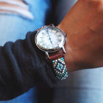 BW-26, Free US shipping ,Native American inspired hand-beaded watch.brown,leather,handmade,hippie,boho,hipster