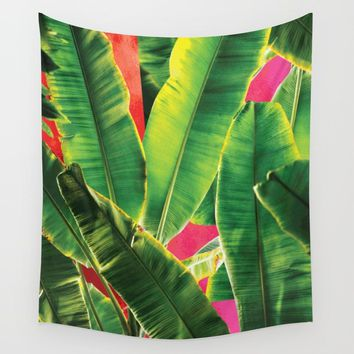 Banana leaf with pink color #society6 Wall Tapestry by designerkanchan