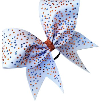 Mystique white bow with 2 color rhinestones of your choice.