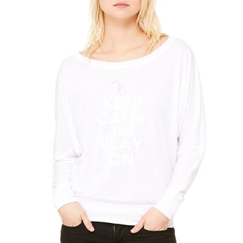 Keep Calm and Play On Sax WOMEN'S FLOWY LONG SLEEVE OFF SHOULDER TEE