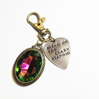 "Pink Floyd Metal Guitar Pick ""Shine On You Crazy Diamond"" Keychain, Vintaj Hand Stamped"