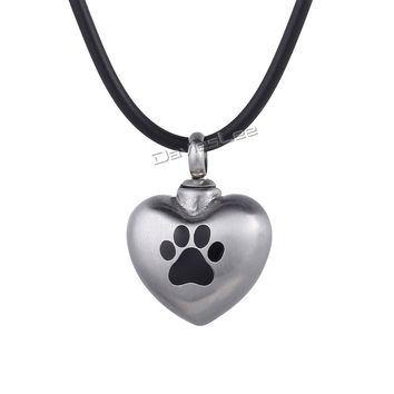 Dog Paw Pet Matting Heart Love Cremation Memorial Urn Keepsake Silver Color 316L Stainless Steel Womens Pendant Necklace LHP418