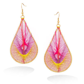 Gold-Tone Pink And Yellow Thread Teardrop Earrings
