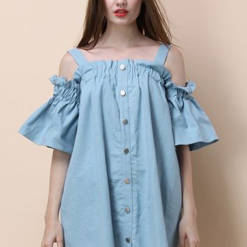 For the Love of Ruffles Chambray Dress