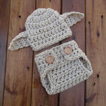 Crochet Baby Dobby Hat And Diaper Cover Newborn Photo Prop