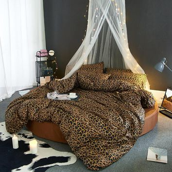 Home bed set round bedding Leopard duvet cover + round fitted sheet+ 2pcs pillowcase 100% cotton bedclothes sexy bed rubber set