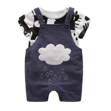 Summer style baby boy clothing set newborn infant clothing 2pcs short sleeve t-shirt + suspenders gentleman suit Clouds of rain