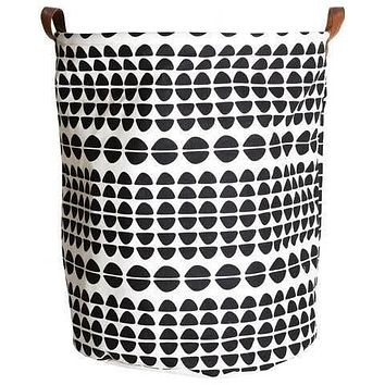 Semicircle Canvas Storage Bin with Leather Handles