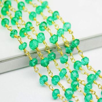Green Onyx Beads Link Chain Necklace 14K Gold Vermeil
