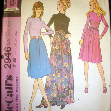 Retro 1970's Dress Misses' Size 10 - 12 Vintage McCall's 2946 Sewing Pattern