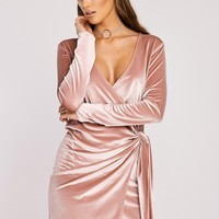 CELESTINE ROSE PINK VELVET TIE SIDE WRAP DRESS
