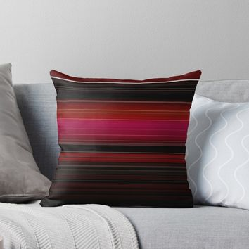 'Rich Red Wine Stripes ' Throw Pillow by Sheila Wenzel
