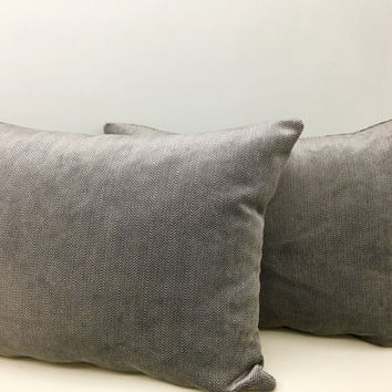 Gray Herringbone Velvet Pillow Cover,Grey Pillow, Throw Pillow, Gray Velvet Cushion, Cushion Covers, Decorative Pillows, Couch Throw Pillows