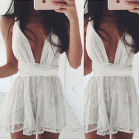 White Lace Deep V-Neck Sleeveless Dress