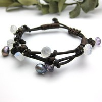 Leather Knotted Bracelet with Amethyst Moonstone and by byjodi