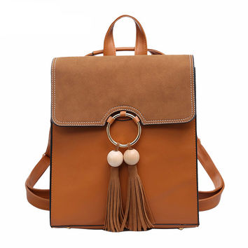Tassel Leather Backpack - 4 Colors