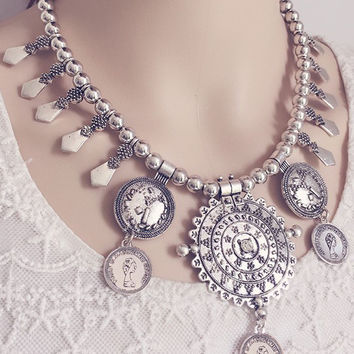 Silver Coin Drop Chain Chocker Necklace