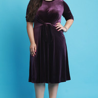 Plus Size Waist Knotted Velvet Midi Dress | UrbanOG