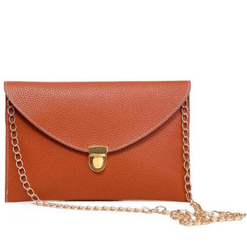 Fashion Leather Envelope Clutch Pocketbook with optional Drop-in Chain Shoulder Strap