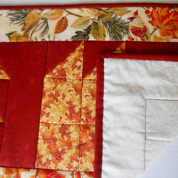 Tumbling Fall Leaves Quilted Table Runner Birds Autumn Golds Table Topper