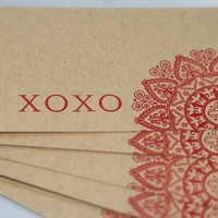 Red and Kraft XOXO Red Doily Valentine's Day Gift Tags Set of Five