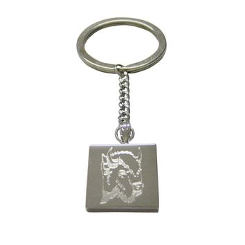 Silver Toned Etched Bison Head Keychain